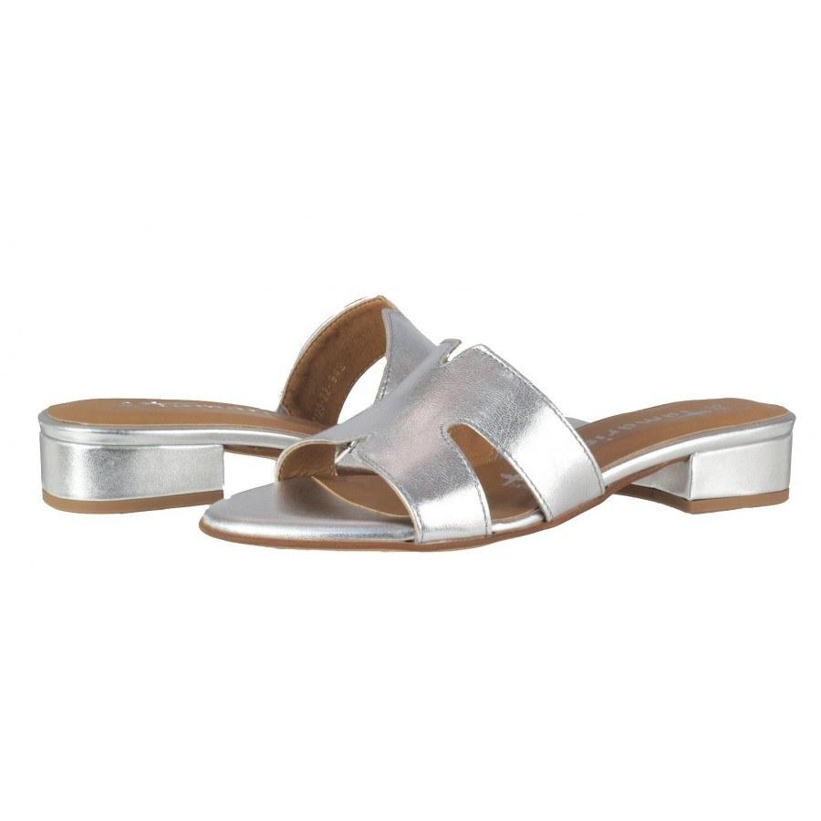 Елегантни дамски чехли на нисък ток Tamaris естествена кожа сребристи