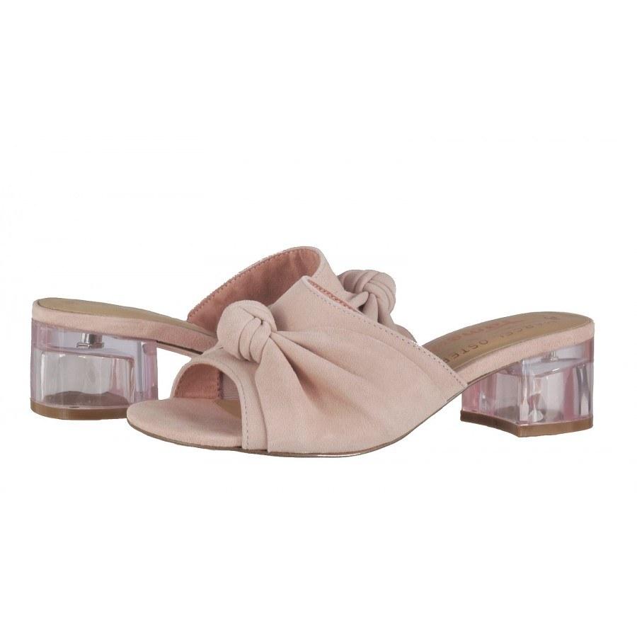Елегантни дамски чехли на ток Tamaris естествена кожа Marcel —x— Ostertag розови