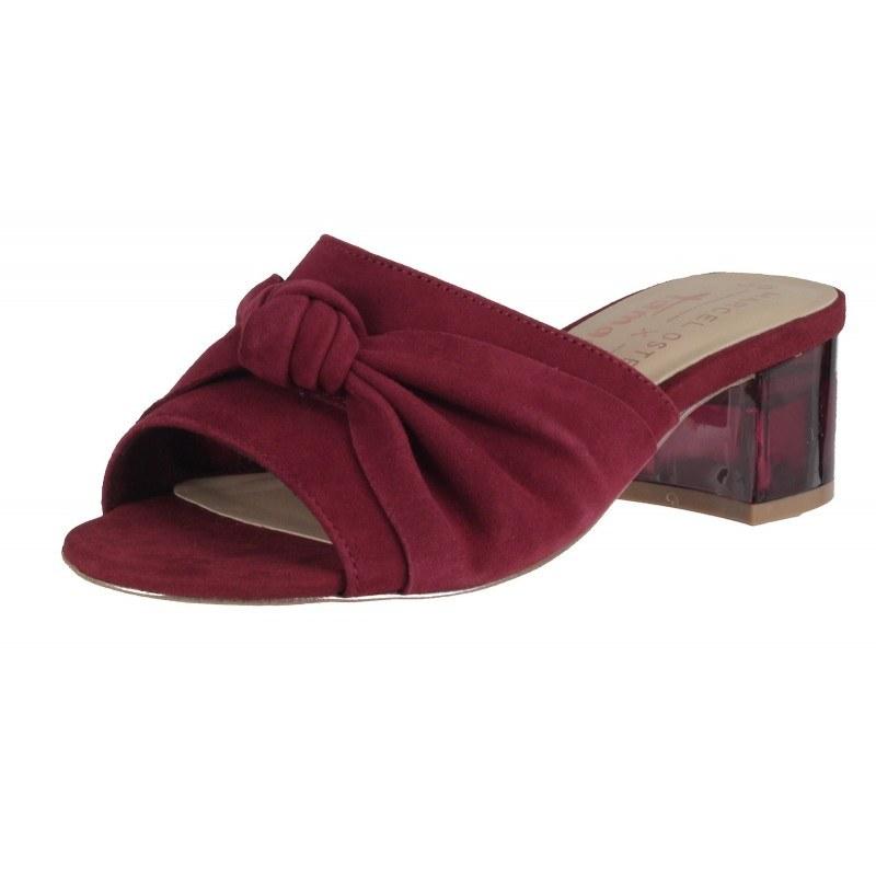 Елегантни дамски чехли на ток Tamaris естествена кожа Marcel —x— Ostertag бордо