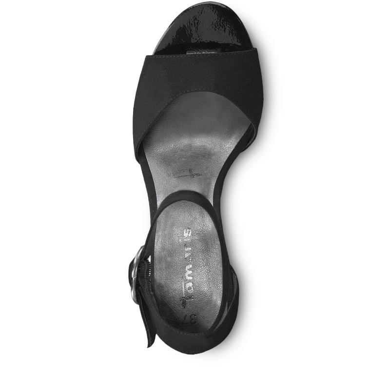 Елегантни дамски сандали на ток Tamaris черни мемори пяна