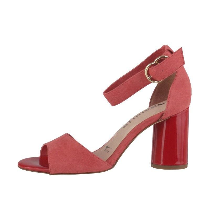Елегантни дамски сандали на ток Tamaris червени мемори пяна