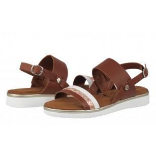 Дамски сандали от естествена кожа Tamaris кафявиТouch it