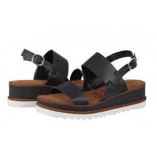 Дамски сандали от естествена кожа Tamaris черни Тouch it