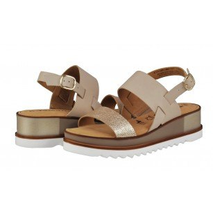 Дамски сандали от естествена кожа Tamaris Тouch it  бежови/златисти