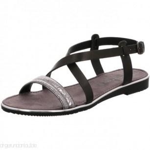 Дамски равни кожени сандали Tamaris черни