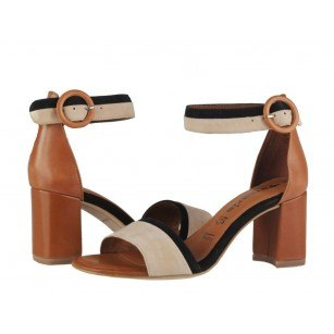 Дамски елегантни сандали на ток Tamaris кафяви мемори пяна