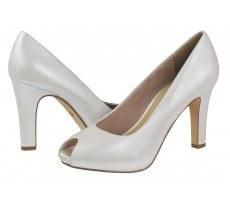 Елегантни дамски обувки на висок ток Tamaris перлено бели