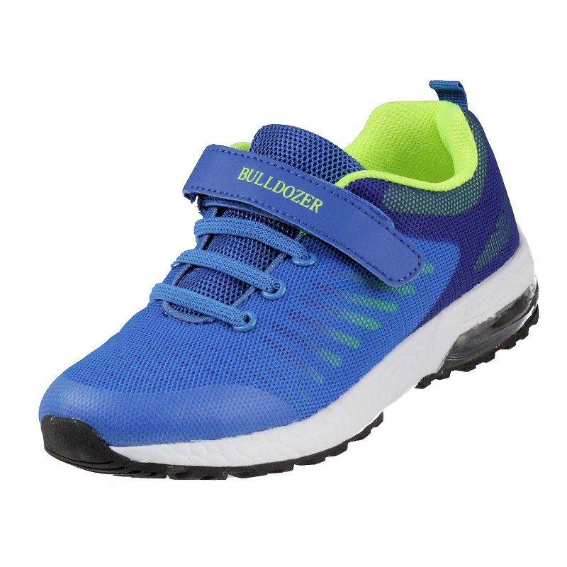 Детски маратонки с лепки за момче Bulldozer сини/зелени