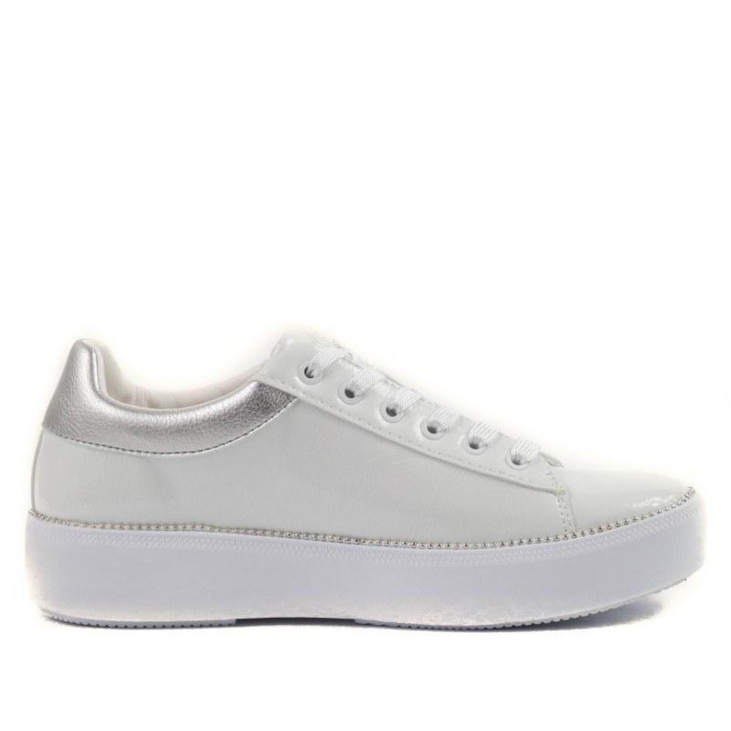 Дамски спортни обувки кецове Bugatti Kelli бели/сребристи