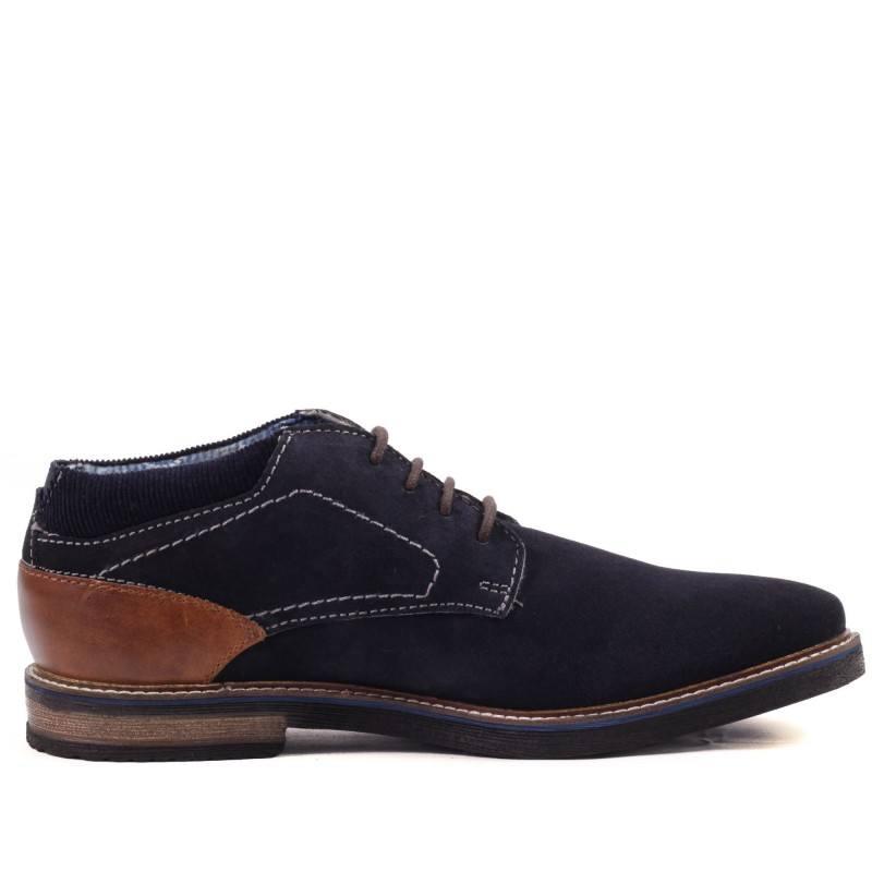 Мъжки обувки половинки естествен велур Bugatti Vando сини