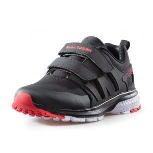 Детски маратонки с лепки за момче Bulldozer черни/червени