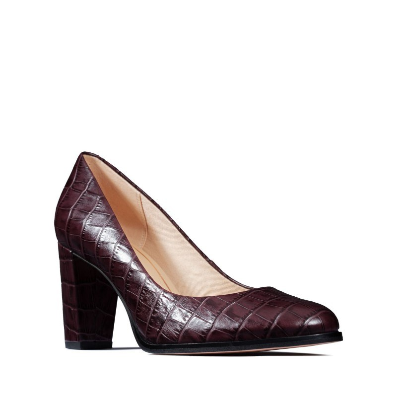 Дамски обувки на ток Clarks Kaylin Cara естествена кожа бордо