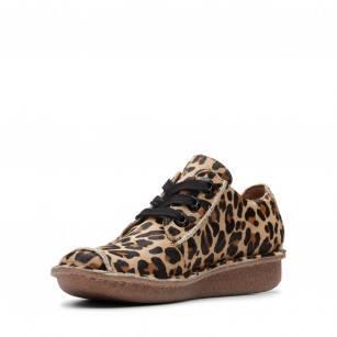 Дамски кожени обувки на платформа Clarks леопард Funny Dream Pony