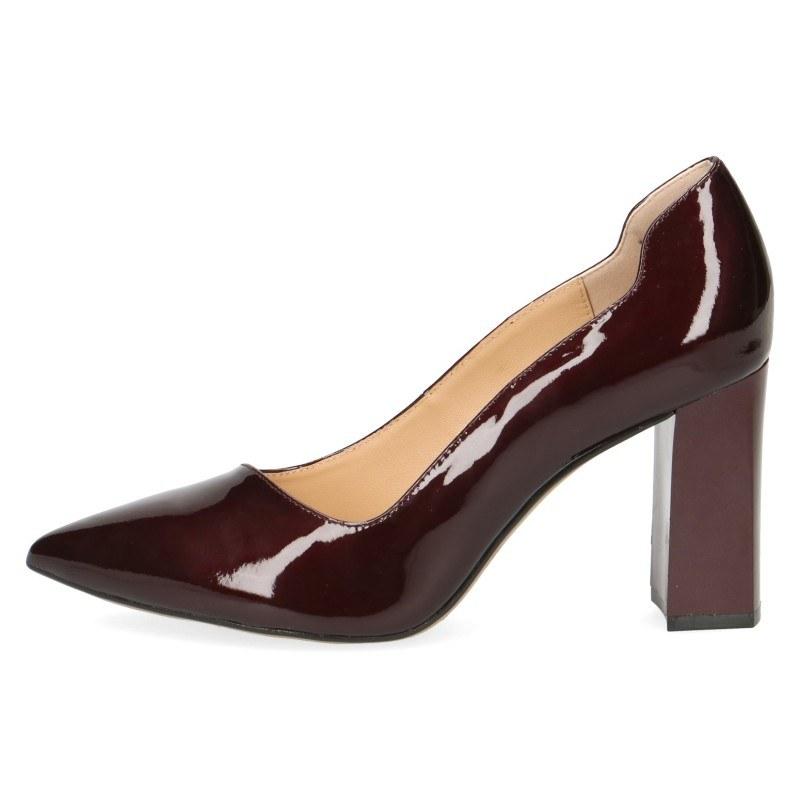 Дамски обувки на ток Caprice бордо естествена кожа