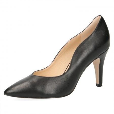 Дамски елегантни обувки на ток Caprice черни естествена кожа PREMIUM