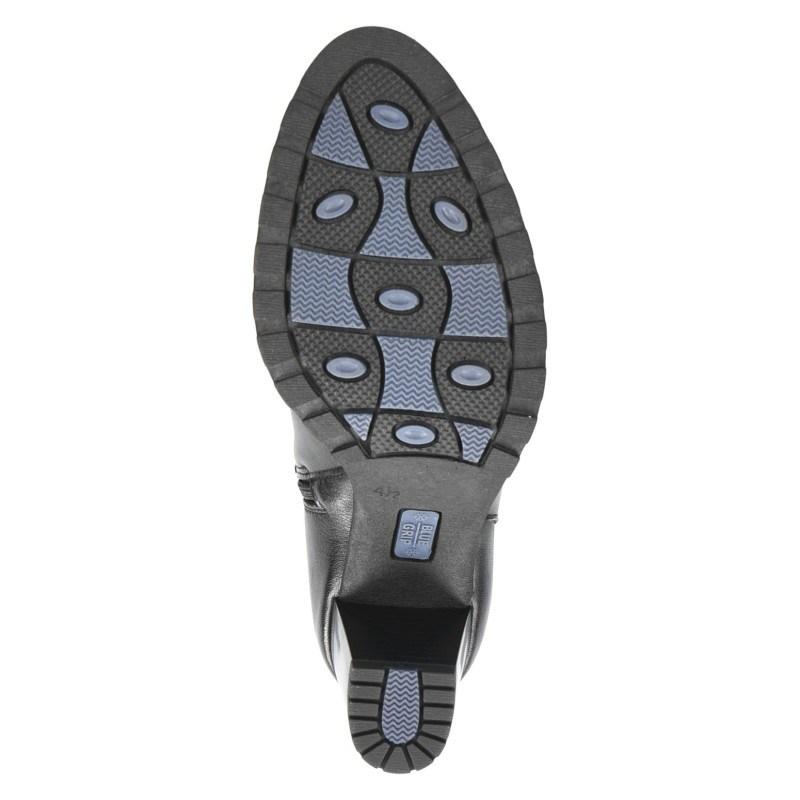 Дамски боти на ток с грайфер Caprice Blue Grip естествена кожа черни