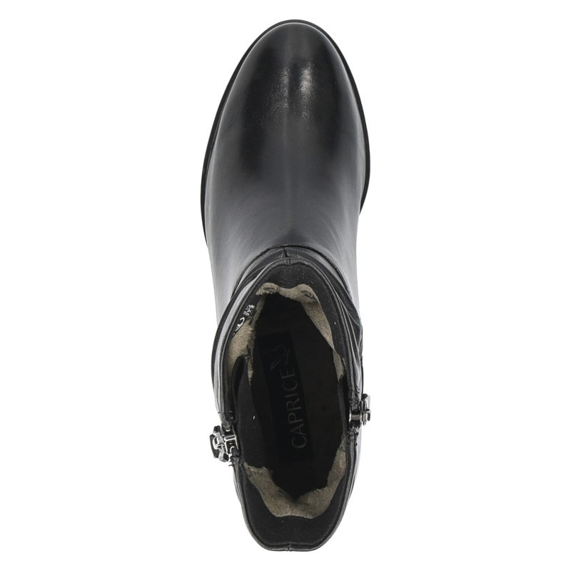 Дамски боти на нисък ток Caprice естествена кожа черни
