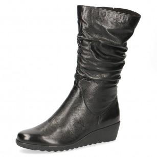 Дамски къси ботуши на платформа Caprice естествена кожа черни