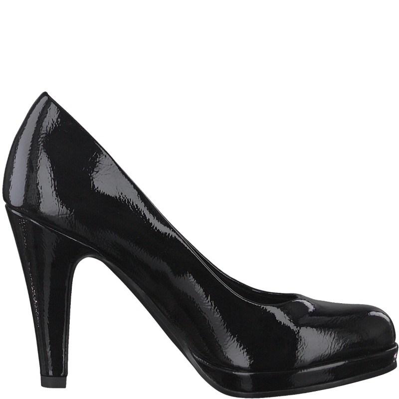 Дамски елегантни обувки на висок ток Marco Tozzi черен лак