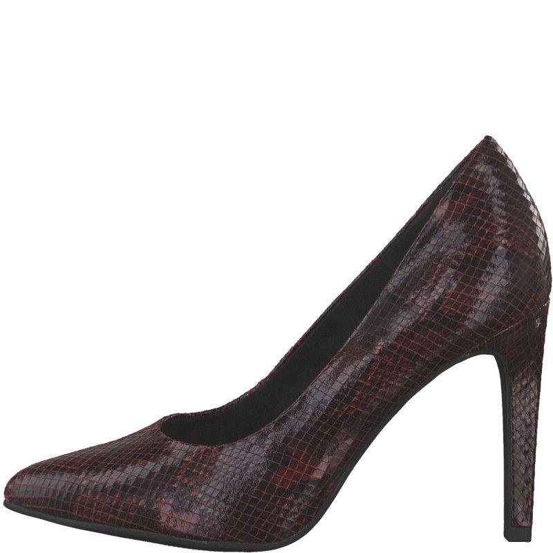 Дамски елегантни обувки на висок ток Marco Tozzi змийски принт