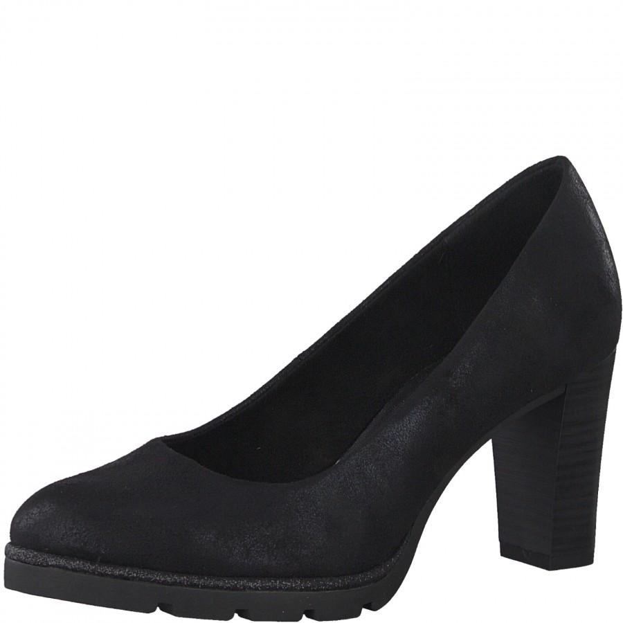 Дамски обувки на ток Marco Tozzi мемори пяна черни металик