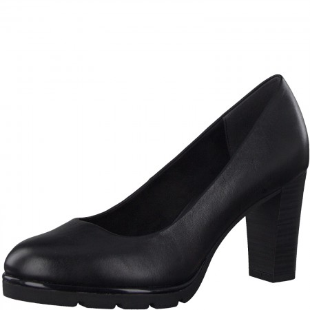 Дамски обувки на ток Marco Tozzi естествена кожа мемори пяна черни