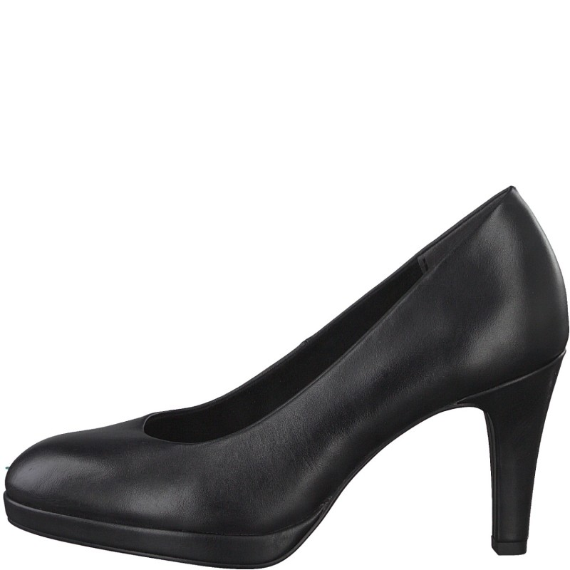 Дамски обувки на висок ток Marco Tozzi естествена кожа мемори пяна черни