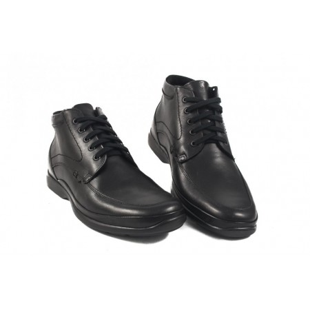 Мъжки кожени боти с връзки черни 8743001