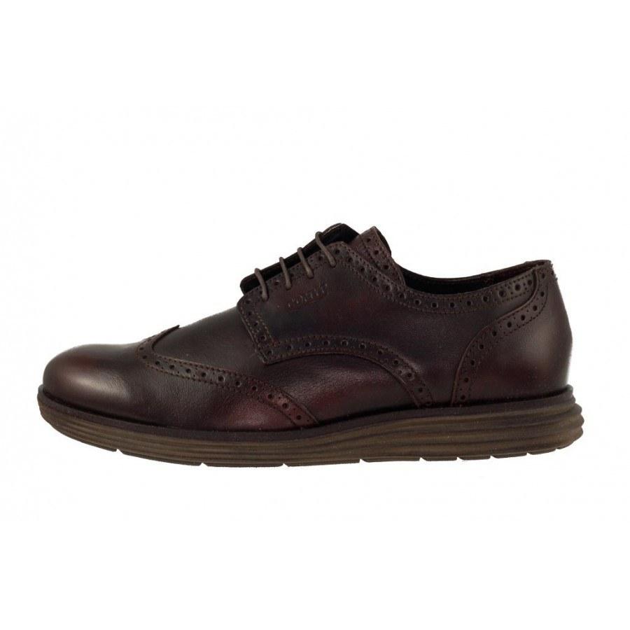 Мъжки обувки от естествена кожа с връзки кафяви
