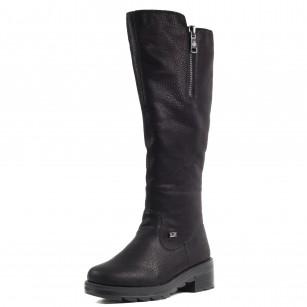 Дамски кожени ботуши с натурална вълна Rieker Tex черни X0591-00