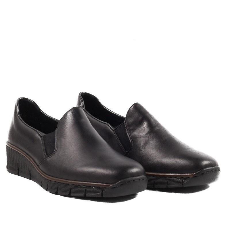 Дамски ежедневни обувки Rieker ANTISTRESS естествена кожа черни 5376-600