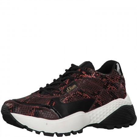 Дамски спортни обувки на платформа S.Oliver змийски принт