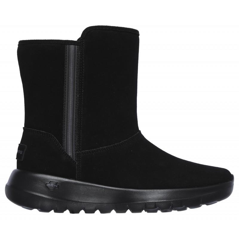 Дамски къси ботуши Skechers On the GO естествена кожа черни