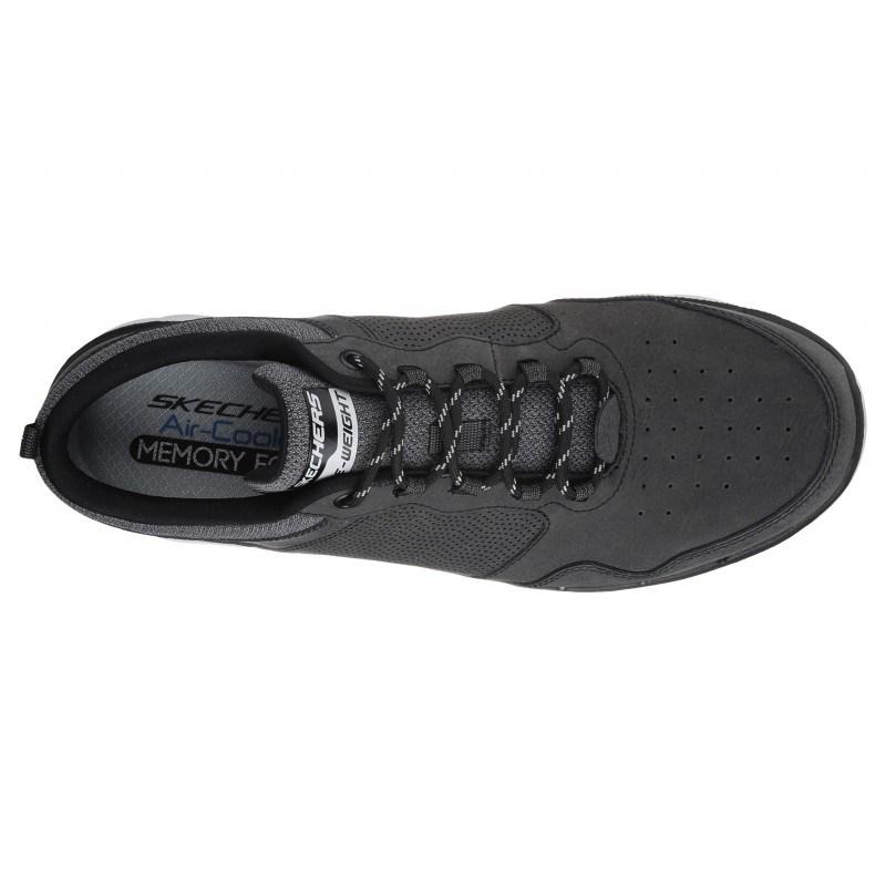 Мъжки спортни обувки с връзки Skechers мемори пяна естествена кожа сиви
