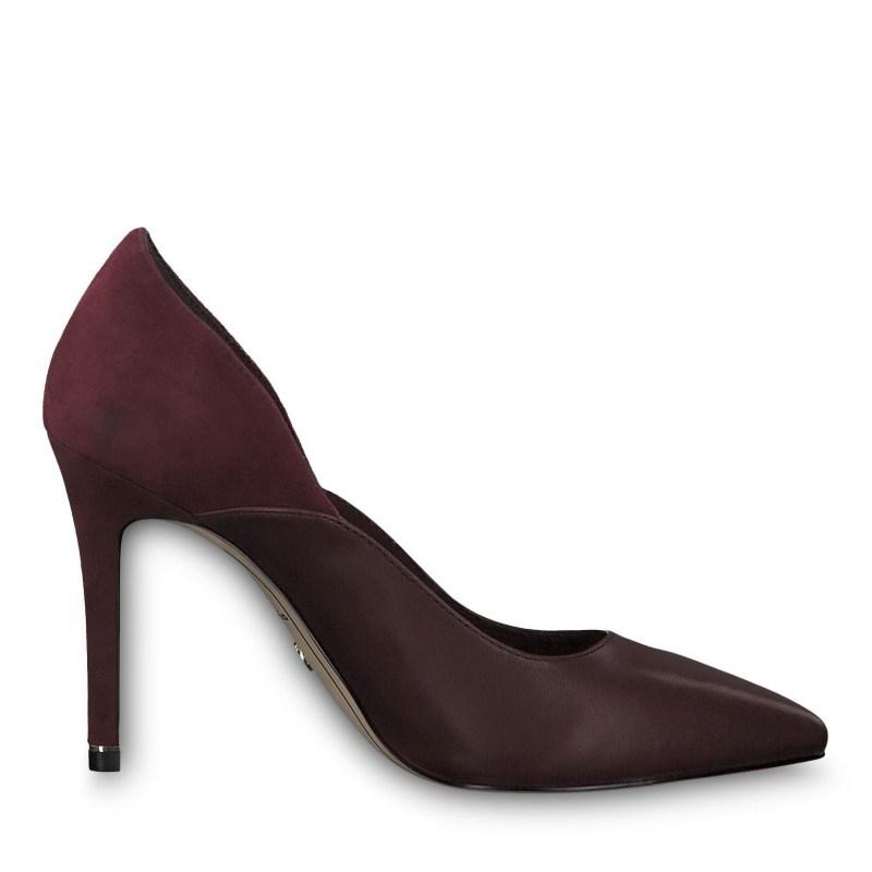 Дамски обувки на висок ток Tamaris естествена кожа бордо