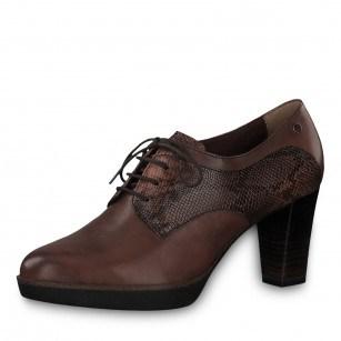 Дамски елегантни обувки на ток с връзки Tamaris естествена кожа кафяви мемори пяна ANTISHOKK®