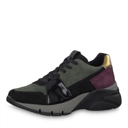 Дамски спортни обувки на платформа Tamaris зелени