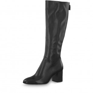 Елегантни дамски ботуши на ток Tamaris естествена кожа черни XS ANTISLIDE