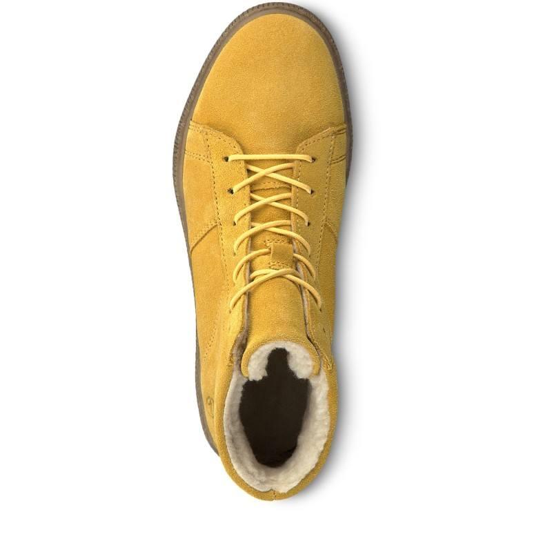 Дамски ежедневни боти Tamaris естествена кожа жълти