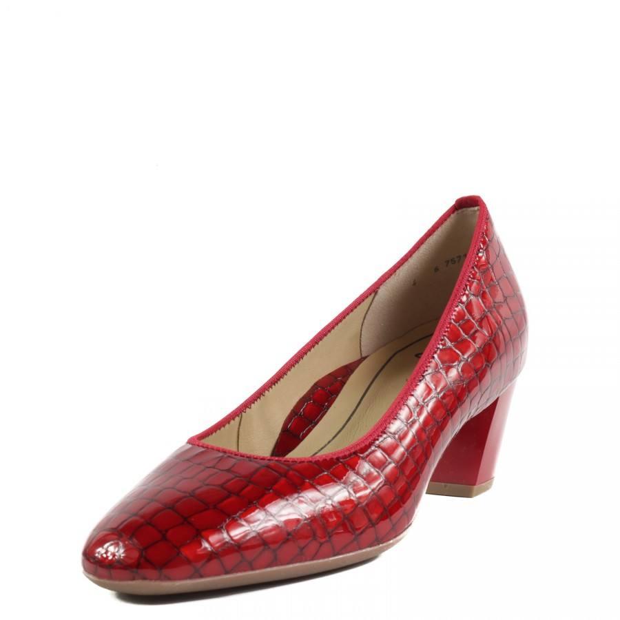 Дамски обувки на ток Ara естествена кожа червен лак ширина H