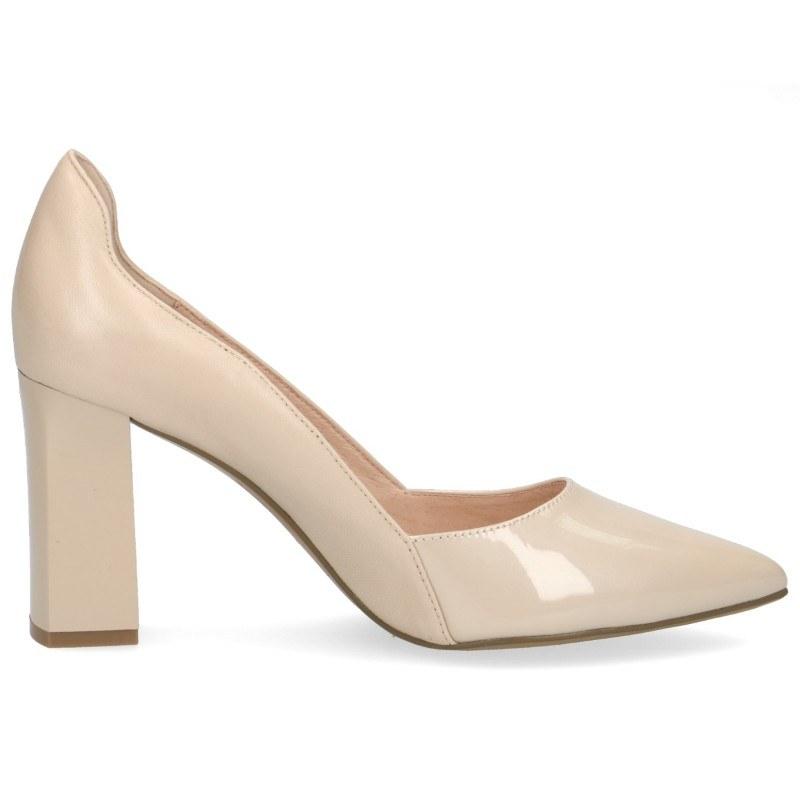 Елегантни дамски обувки на висок ток Caprice естествена кожа бежови Premium