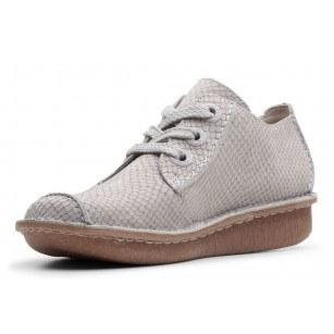 Дамски обувки естествена кожа Clarks Funny Dream сиви с връзки