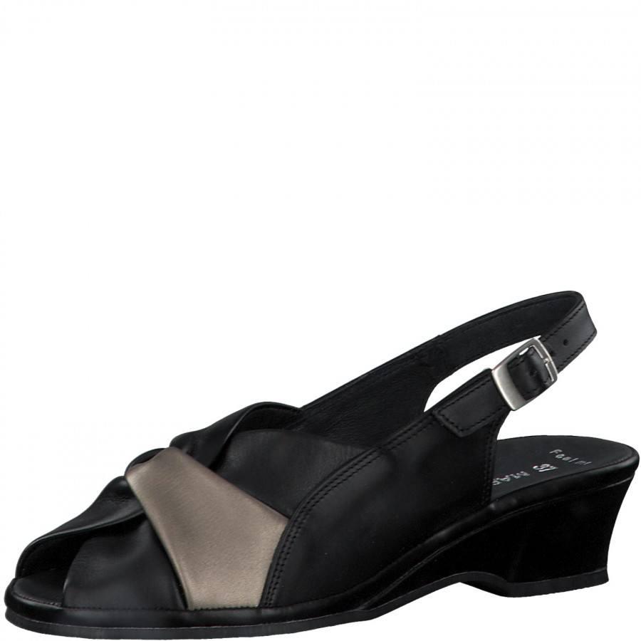 Дамски сандали Marco Tozzi естествена кожа мемори пяна черни