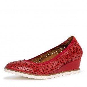 Дамски обувки на платформа Tamaris естествена кожа червени