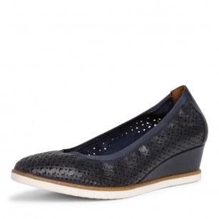 Дамски обувки на платформа Tamaris естествена кожа сини