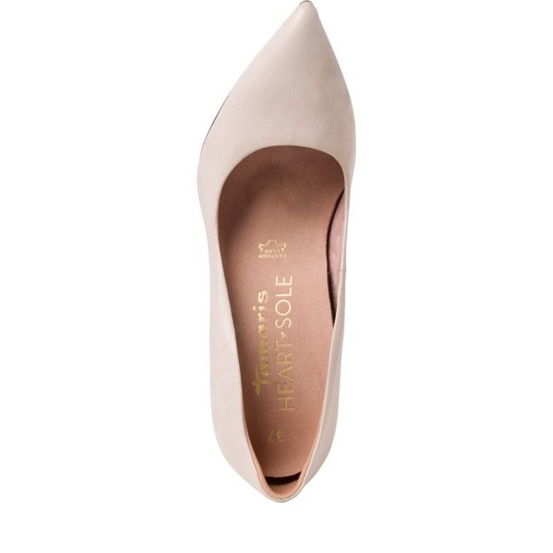 Дамски елегантни обувки на висок ток Tamaris бежови естествена кожа
