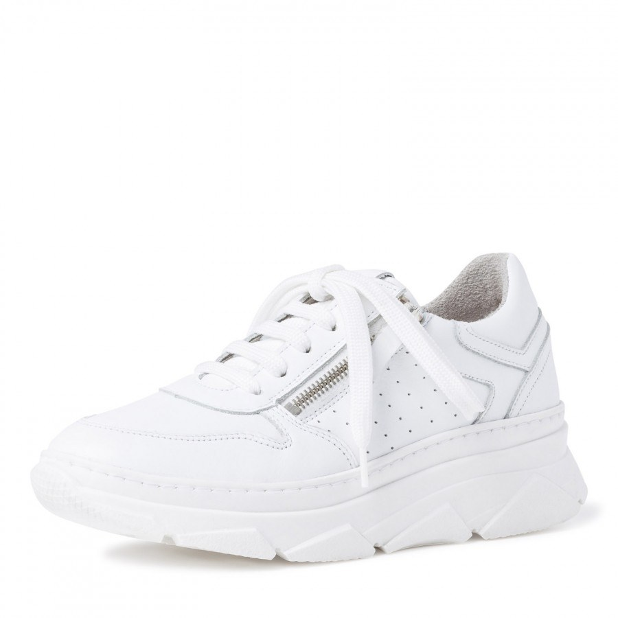 Дамски спортни обувки Tamaris бели естествена кожа мемори пяна