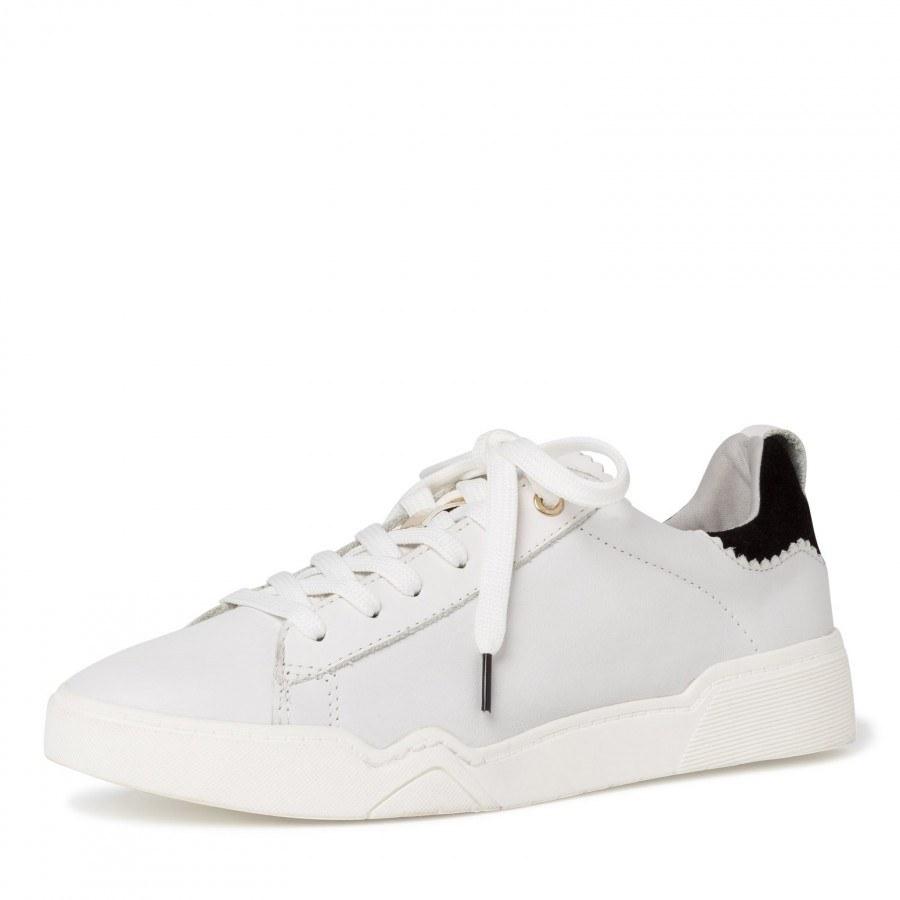 Дамски спортни обувки Tamaris естествена кожа мемори пяна бели