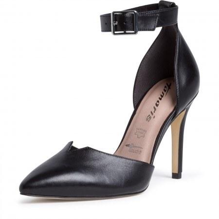 Елегантни дамски обувки на ток Tamaris естествена кожа мемори пяна черни