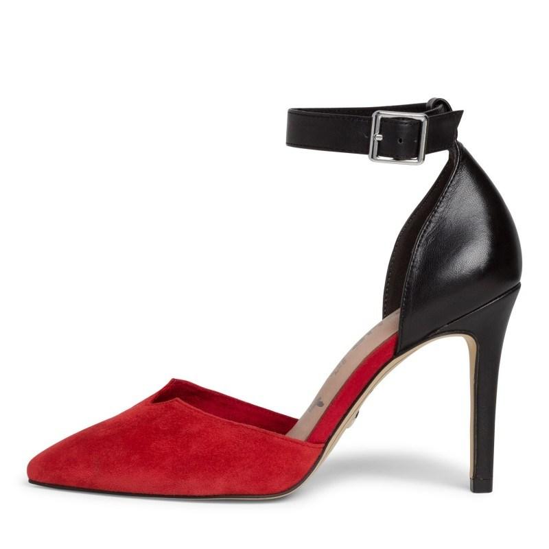 Елегантни дамски обувки на ток Tamaris естествена кожа мемори пяна